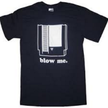 Nintendo Blow Me Navy Adult T-shirt