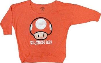 Nintendo Oh, Grow Up Mushroom Heathered Cropped Sweatshirt