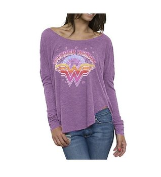 Wonder Woman Retro Vintage Inspired Long Sleeve Drape T-Shirt
