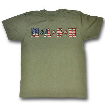 Mash American Flag Army Green T-shirt