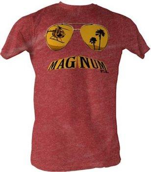 Magnum P.I. Glasses Mustache Burgundy T-Shirt