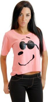 Joe Cool Snoopy Cropped Peach T-shirt